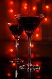 玻璃马蒂尼鸡尾酒红色 库存照片