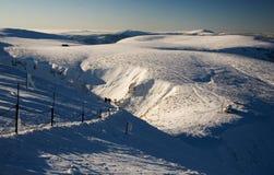 横向山多雪的视图 图库摄影