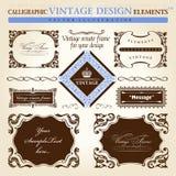 装饰要素框架装饰品集合向量葡萄酒 免版税库存照片