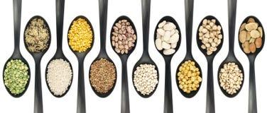 在匙子的豆类 免版税库存图片