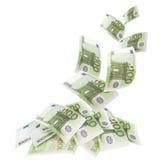 钞票欧元落 库存图片