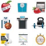 健身图标集合向量 免版税库存照片
