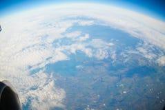被看到的地球飞机 免版税库存照片