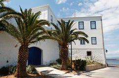 希腊房子掌上型计算机 库存图片