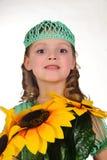 女孩向日葵 免版税图库摄影