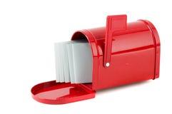 在邮箱红色上写字 免版税库存照片
