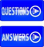 отвечает на голубые вопросы о кнопки Стоковое Изображение RF