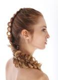 秀丽白肤金发的女孩纵向年轻人 库存图片