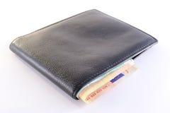 черный кожаный бумажник Стоковые Фотографии RF