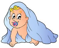 婴孩爬行的毛巾 免版税库存照片