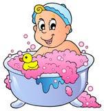 婴孩沐浴逗人喜爱 免版税库存照片