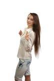 长期美丽的女孩头发 免版税库存照片