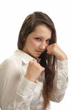 新美丽的拳击的妇女 库存照片