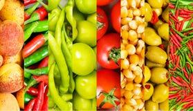 Коллаж много фруктов и овощей Стоковая Фотография RF