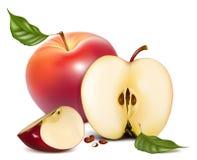 苹果绿色留下红色成熟 库存图片