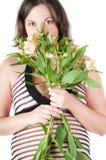 цветет женщина портрета супоросая милая Стоковые Изображения RF
