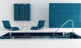 голубое роскошное заплывание бассеина Стоковые Фотографии RF