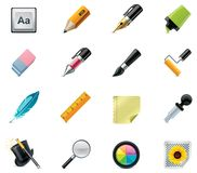 писание инструментов иконы чертежа установленное Стоковое фото RF