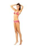 女孩游泳高年轻人的查出的诉讼 免版税库存照片