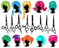 установите парик силуэтов Стоковая Фотография RF