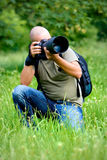 繁忙的摄影师工作 库存图片