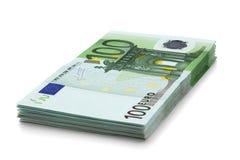 钞票欧元一百一堆 图库摄影