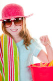 准备好海滩的女孩 免版税库存图片