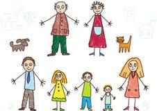 малыши семьи чертежа Стоковые Изображения