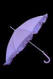 查出的开放紫色伞 免版税库存图片