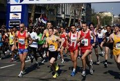 组赛跑者起始时间 库存图片