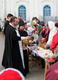 祝福复活节食物 免版税库存图片