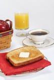 早餐咖啡汁多士 免版税库存照片