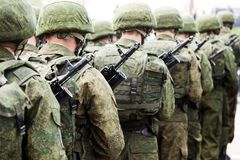 军用行战士统一 免版税库存图片