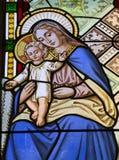 圣洁玛丽窗玻璃 免版税库存照片