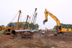 建筑气体荷兰管道站点 免版税库存图片