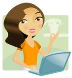 她的膝上型计算机妇女工作 免版税库存图片
