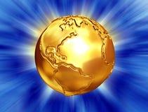 金黄抽象背景的地球 库存照片