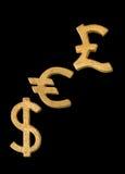 金黄美元、欧元和英镑符号 库存图片