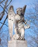 天使竖琴雕象 库存照片