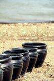 黑色罐 免版税库存图片