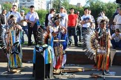 南美国音乐的当地人 库存照片