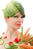 女孩蔬菜 免版税库存图片