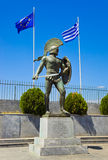 希腊利奥尼达斯・斯巴达国王雕象 库存照片