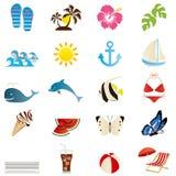 иконы установили лето Стоковые Фотографии RF