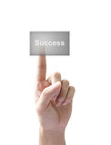 успех кнопки изолированный рукой Стоковое фото RF