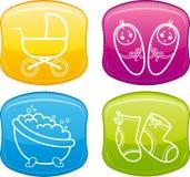 婴孩美丽的按钮光滑的图标 免版税库存图片