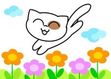 猫开花矢量滑稽的例证 免版税库存图片
