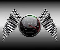 方格的标志和车速表。 免版税库存图片