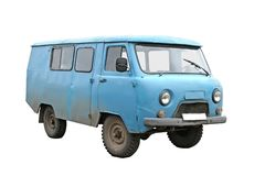 голубой старый фургон Стоковая Фотография