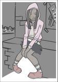 疲倦的女孩坐 免版税库存照片